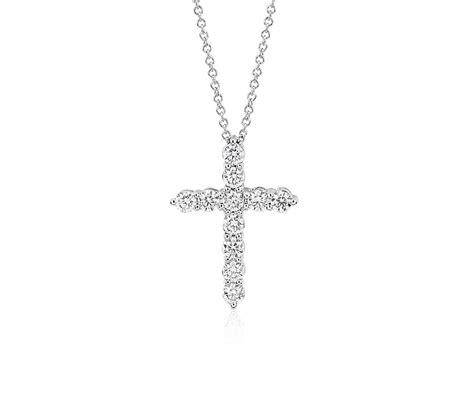 14k White Gold Cross Pendant cross pendant in 14k white gold 1 ct tw blue