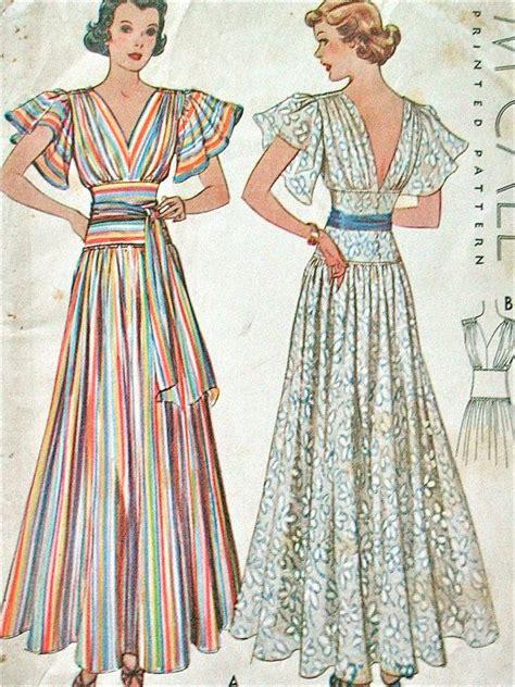 Mccall Butterfly Sleeve Dress by Mccall 9321 Ca 1937 Evening Dress Summer Gown