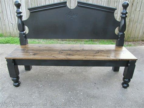bed frame bench bed frame into beautiful bench repurposing ideas pinterest