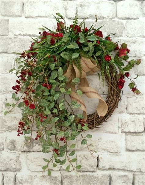grapevine floral design home decor the red floral fall wreath for door fall decor front door