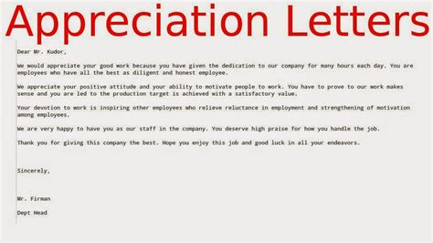Appreciation Letter Service Employee Best Free