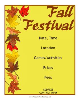 Fall Festival Flyer Free Printable Event Flyer Templates