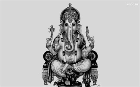 black and white wallpaper of god ganesh ji black and white wallpaper