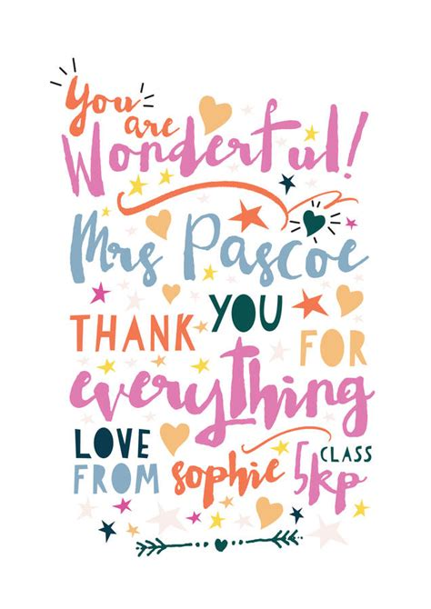 thank you letter to a wonderful you are wonderful thank you print by rocks design
