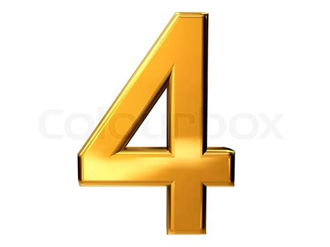 Number Four gold number four isolated on white background stock