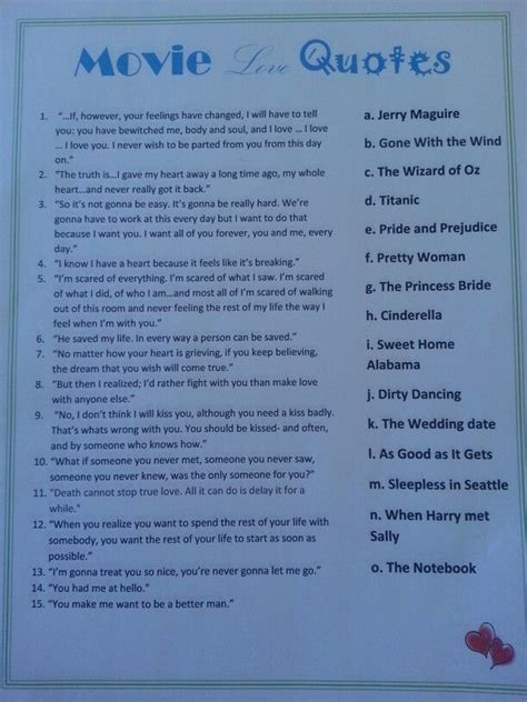 movie love quotes bridal shower game entertaining games pin by ashley herron on parties pinterest
