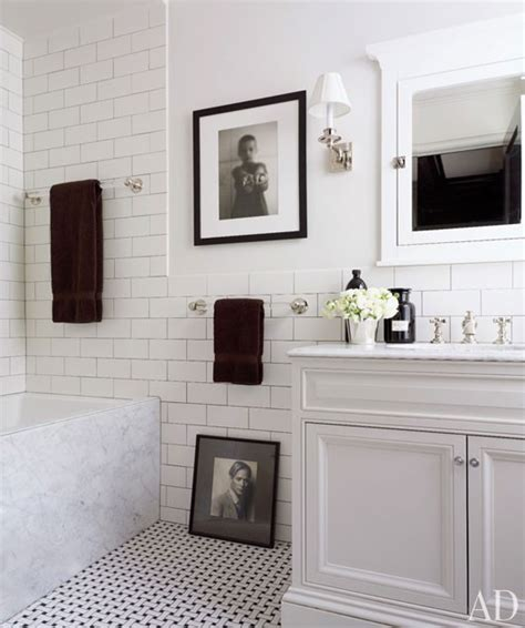 White Tile Bathroom Design Ideas by Clean Crisp White Amp Black Bathroom Design With