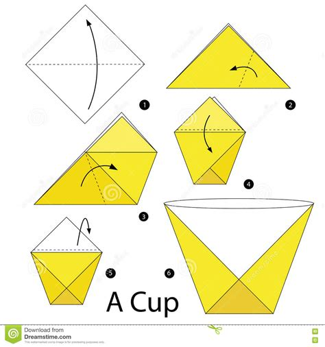 Written Origami - step by step how to make origami a cup stock