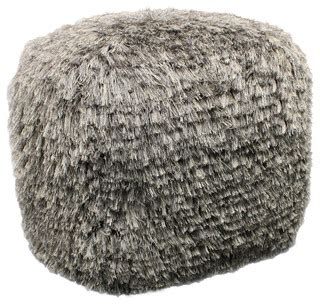 shaggy pouf ottoman shag pouf gray contemporary footstools and ottomans