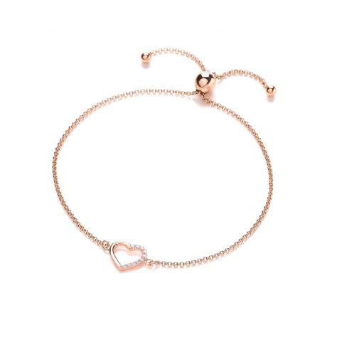 Rose Gold Plated Silver Heart Friendship Bracelet by David