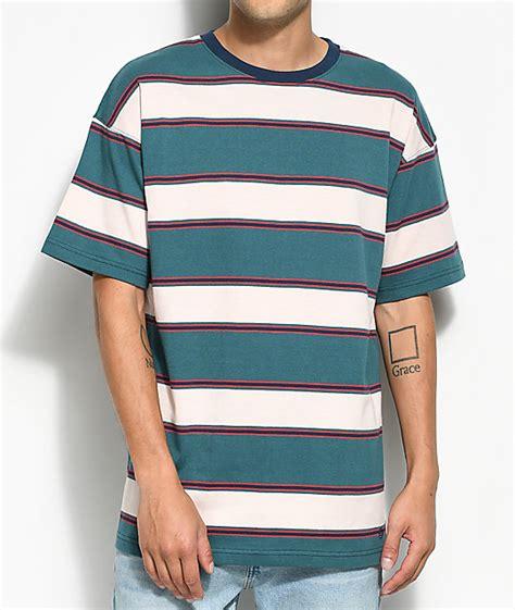 Stripe Shirt zine slouch teal multi stripe t shirt zumiez