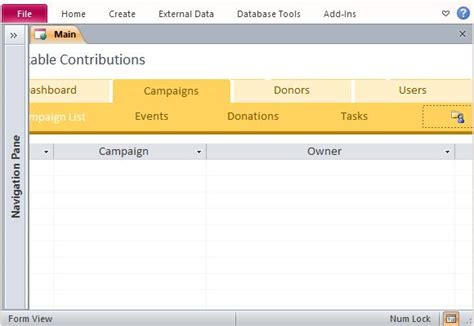 Charitable Donor Database Template For Access Microsoft Access Donor Database Template