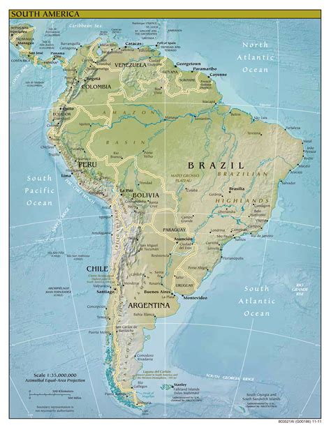 south america major cities map large detailed relief and political map of south america