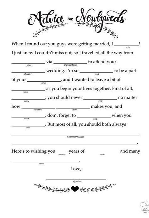 mad lib template advice to newlyweds free printable wedding popsugar and
