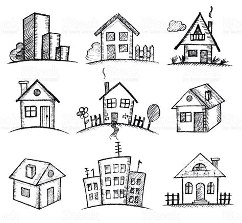 set houses drawings stock photo photo vector illustration sketch houses icon set stock vector art more images of