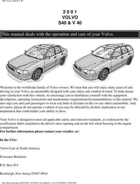 free online auto service manuals 2009 volvo s40 electronic valve timing 01 volvo s40 2001 owners manual download manuals technical