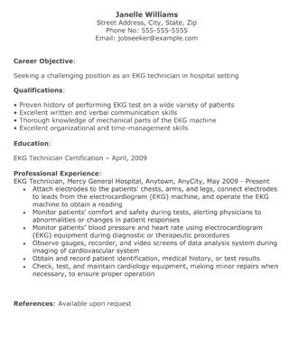 Resume Sample Objectives by Ekg Technician Resume The Resume Template Site
