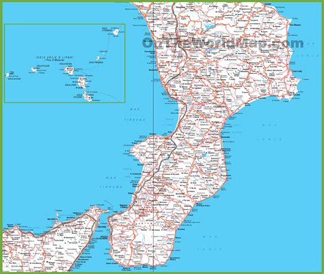 how many towns are in the us large detailed map of calabria with cities and towns
