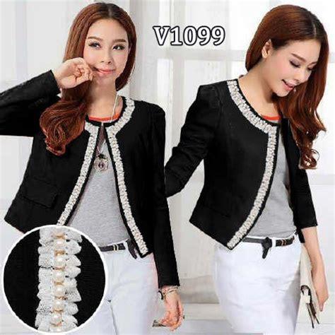 Special Blazer Kerja Wanita Blazer Formal Blazer Hitam Paling Mura blazer wanita cantik v1099 renda motte modis warna hitam