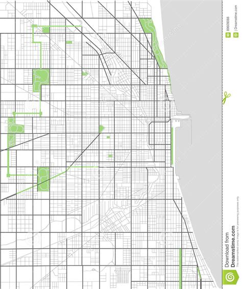 chicago city map usa map of the city of chicago usa vector illustration