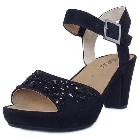 womens black heeled sandals gabor abe s dressy block heel sandals in black