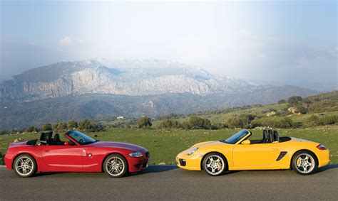 bmw boxster 2007 bmw z4 m roadster vs 2006 porsche boxster s car