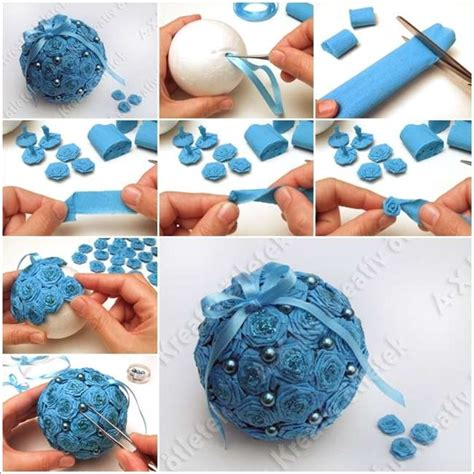 how to make christmas decorations beautiful paper beautiful crepe paper roses christmas ball ornament