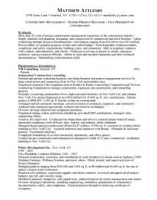 Construction Management Resume Sles by Construction Management Resume Getessay Biz