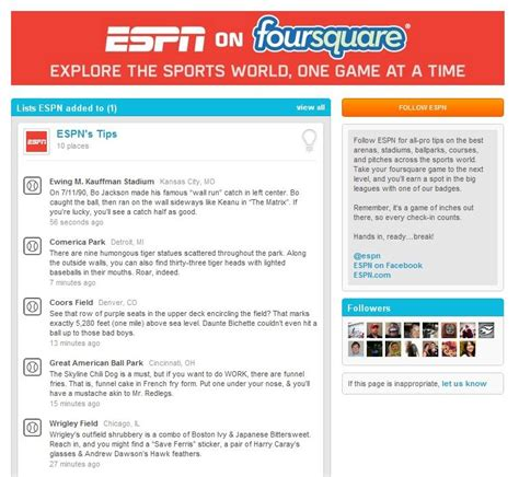 espn checks in with foursquare espn front row