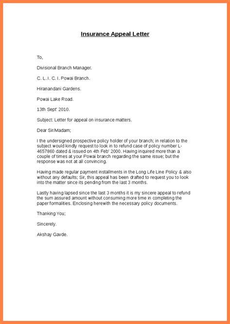 insurance appeal letter letter template