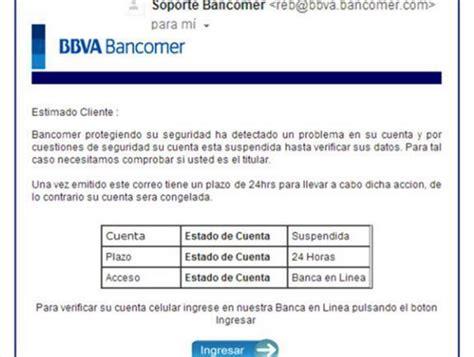 bbva bancomer estado de cuenta alerta condusef sobre correo falso de bbva bancomer mvs