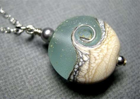 Handmade Unique - necklace wave aqua pendant by jewelrybydorothy