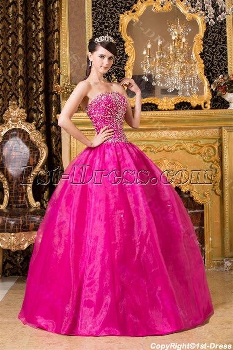 Hot Pink Beaded Cute Quinceanera Dresses:1st dress.com