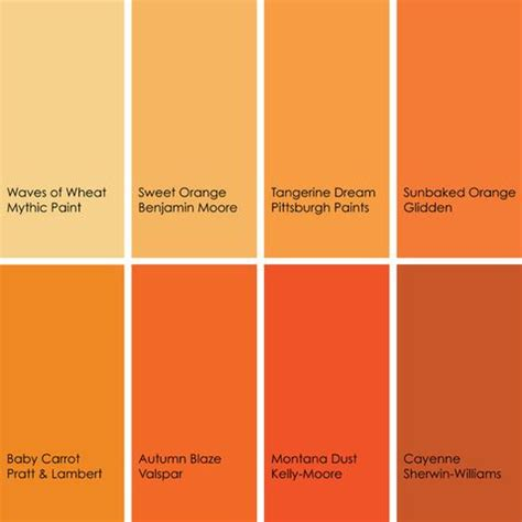 orange color shades shades of orange paint colors 2