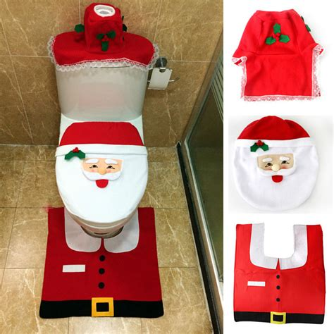 santa bathroom set hot 1set christmas fancy santa toilet seat cover rug