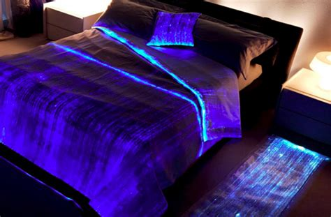 Black Light Comforter ooh aah luminous fiber optics bed cover things