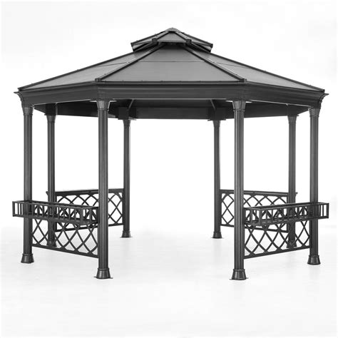 gazebo steel sunjoy stockton 14 ft x 13 ft black steel gazebo