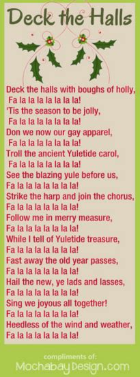 printable lyrics for deck the halls print deck the halls christmas song lyrics bookmark