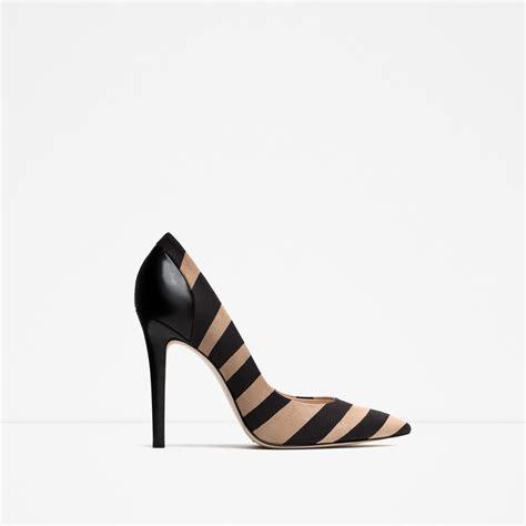 zara leather high heel shoes in beige multicolour lyst