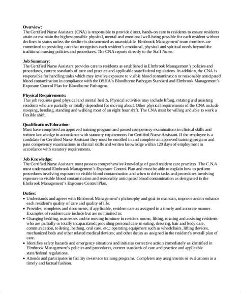 sle cna job description 8 exles in pdf