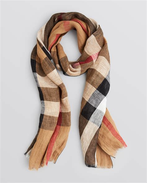 burberry exploded check linen scarf in brown house