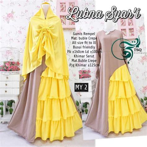 Gamis Yellow Syari by Lubna Syar I Crepe Rempel Baju Gamis Model Terbaru