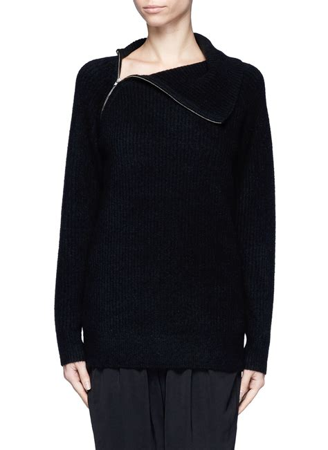zip side sweater theory dimonica side zip sweater in black lyst