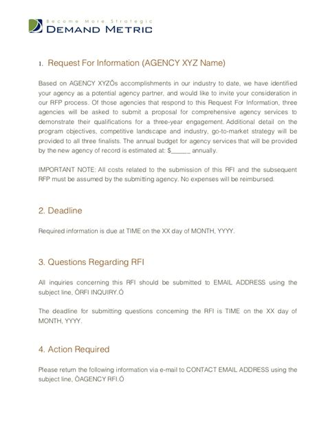 Sle Response Letter Request Information Rfi Document Template 28 Images Free Request For Information Templates Smartsheet Sle Rfp