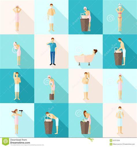 Concept Shower Bath personal hygiene flat icons set stock vector image 55727304