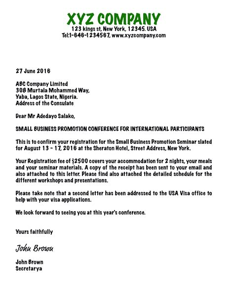 Letter For Visa From Company Writing An Invitation Letter For Business Visa Usa B1