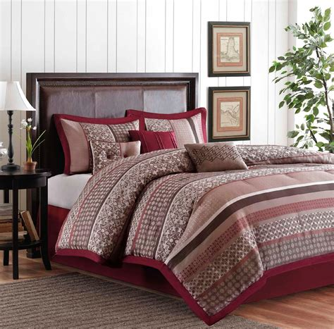 red and brown comforter set colormate 6 piece red and brown jacquard princeton woven