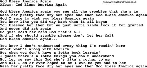 printable lyrics god bless america loretta lynn song god bless america again lyrics