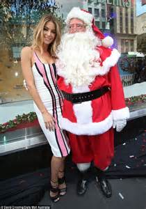 jennifer hawkins celebrates the opening of myer christmas
