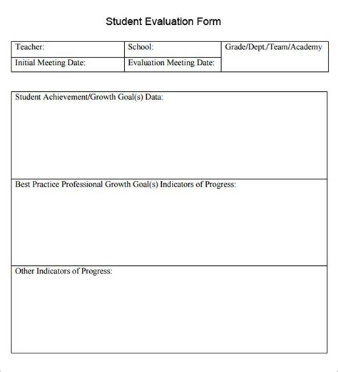 Student Evaluation Form 7 Download Documents In Pdf Student Evaluation Form Template